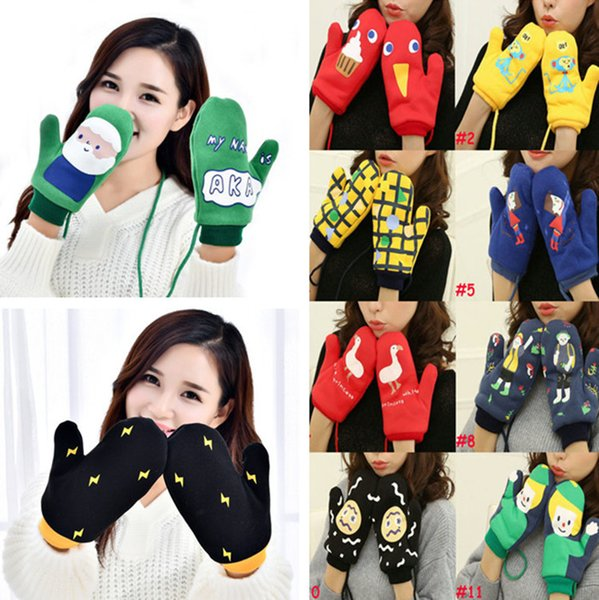 15Colors Girls Novelty Winter Cartoon Gloves Knit Fitness Warm Gloves Double plus velvet Heated Wrist Mittens Sports Gloves 80pair T1I913