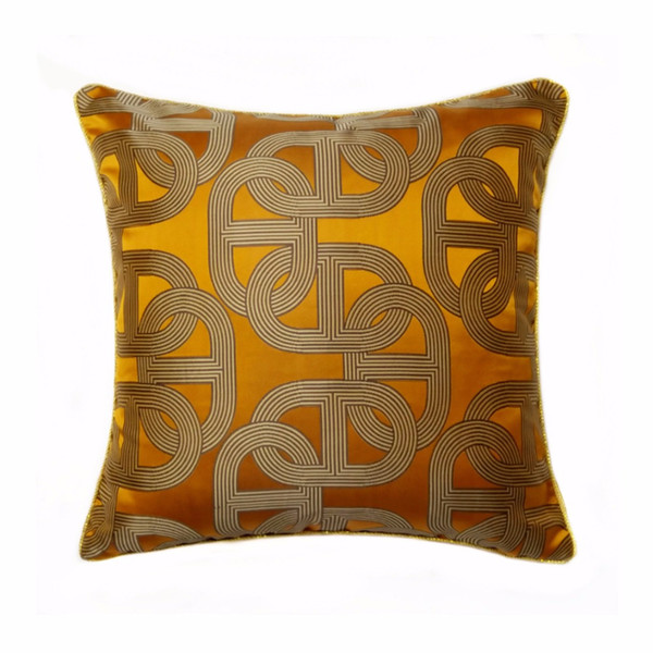 Free Shipping Contemporary Dark Orange Geometric Pillow Case Modern Square 45x45cm Rope Pipping Jacquard Woven Home Floor Sofa Cushion Cover