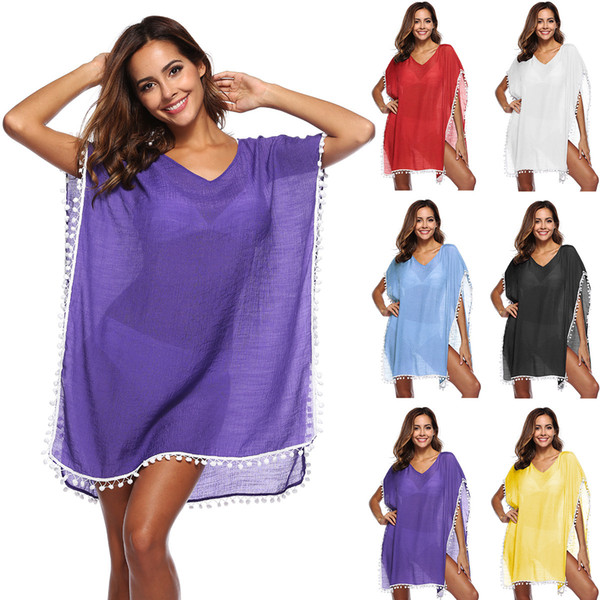 Lady sexy overall loose see-through beach dress woman free size v neck sun-protective blouse