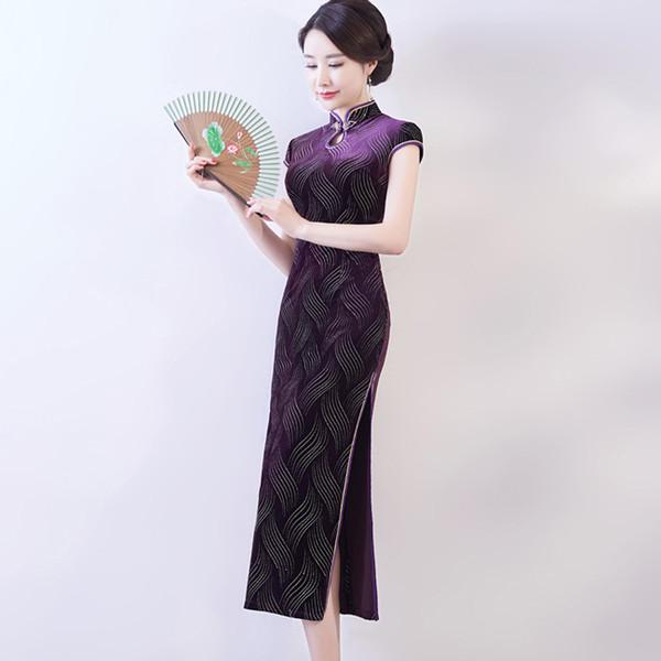 2019 Summer simple elegant high quality plus size short sleeve velvet rose red/purple/green long cheongsam daily qipao wedding dress