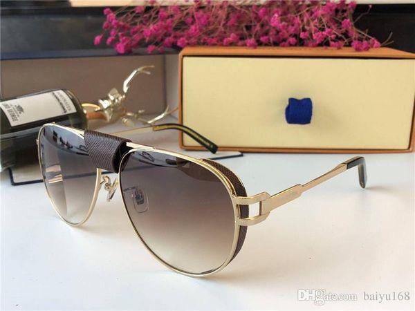 Lunettes de soleil Vintage or / marron Pilot oculos de sol hommes lunettes de soleil design de luxe