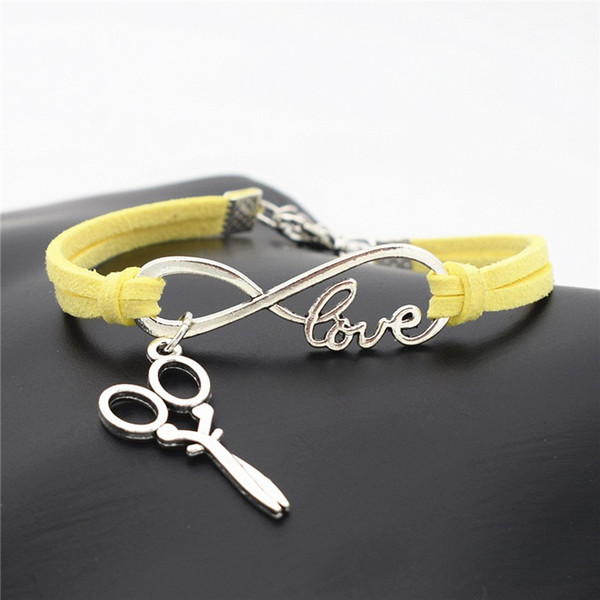 AFSHOR 2018 Stylish Christmas Gift Unique Barber Scissors Pendant Love Infinity Charm Leather Bracelet for Women Men Scissors Wrist Jewelry