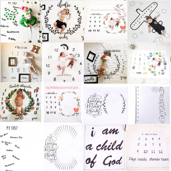 Newborn photography props blanket I am a child of god baby blankets photography 1-12 digital black&white letters blanket