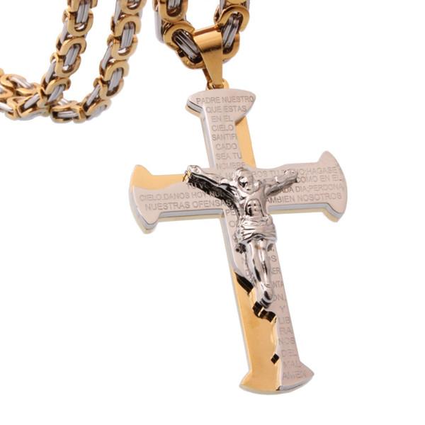 """925 Sterling Argent Crucifix Cross Charme avec Jésus Collier Pendentif 18/"""" Chaîne"""