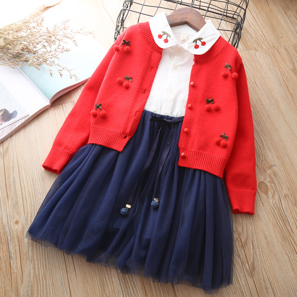 baby girls clothing set knitted clothes suit Dress + sweater Cardigan 2 pieces outfits Little Girl cotton Cute Christmas wear 3T