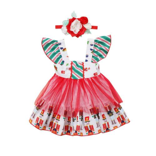 Christmas Newborn Baby Girl Flying Sleeve Striped Princess Dress Ball Gown Party Cute Pageant Tulle Flowers Headband 2Pcs 0-3Y