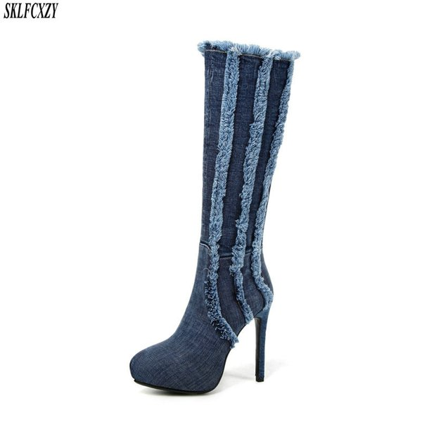 SKLFCXZY Autumn new arrival ladies jeans knee boots high heels comfortable zipper woman boots fashionable shoes women
