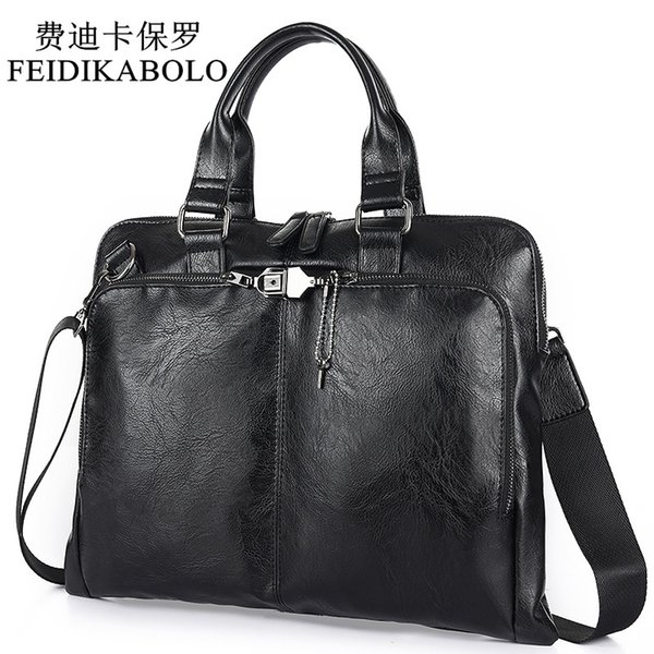 BOLO Business Briefcase Leather Men Bag Computer Laptop Handbag Man Shoulder Bag Messenger Bags Men's Travel Bags Black Brown
