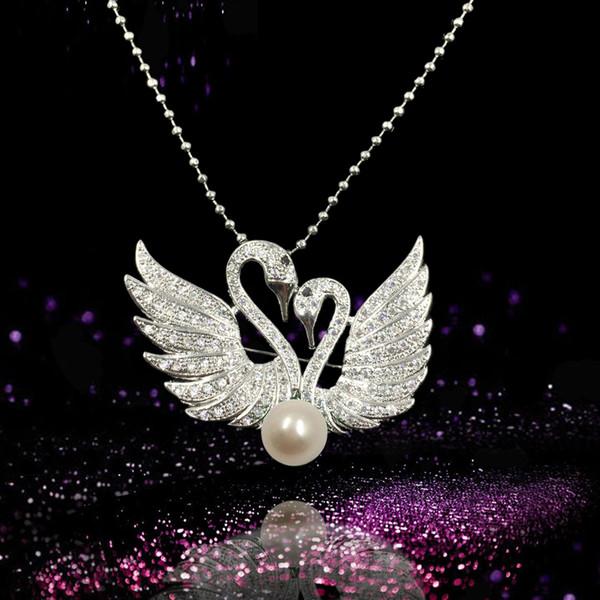 Frauen Swan Perle Broschen Pins Zirkon Schöne Tier Modeschmuck Hochzeitsgeschenk mit Eine freie Halskette