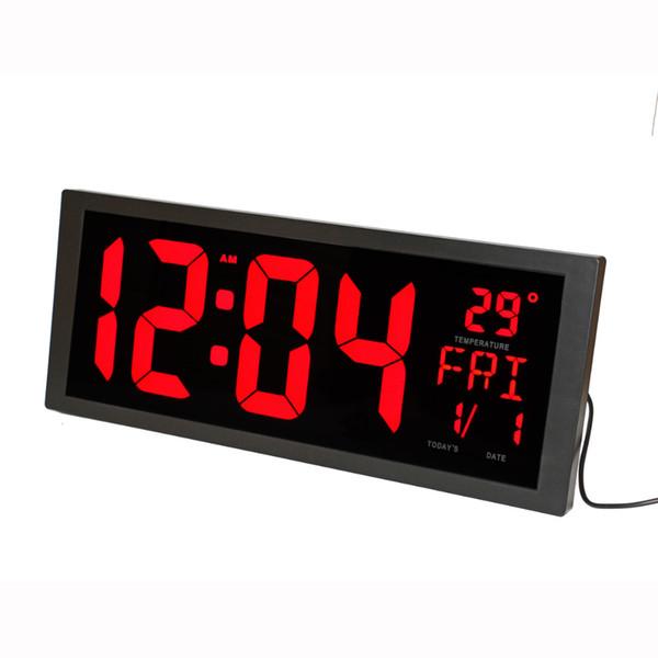Relógio de Parede Digital LED com Temperatura Interior Data Semana de Verão e Suporte Dobrável Moderna Decoração de Casa