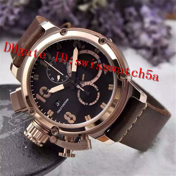 AAA Luxury U-51 Watch Import Quartz Chronograph Movement Sapphire Crystal 316L Stainless Steel Rose Gold Case Leather strap Men Watch