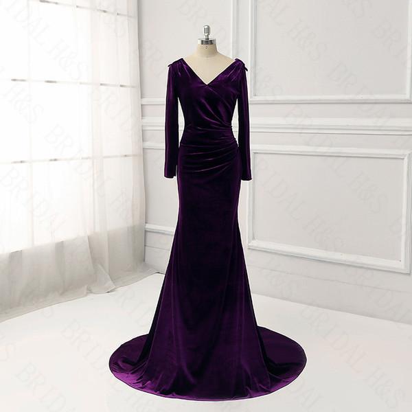 Langarm abendkleider echte vintage lila meerjungfrau v neck sexy runway abendkleid samt prom kleider