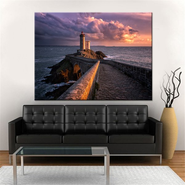 HD Prints Pictures Home Decor Poster Framework 1 Unidad / es Lighthouse Sea Views Waves Lienzo Cuadros Para Living Room Wall Art
