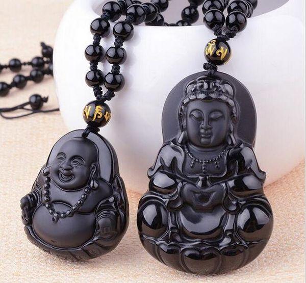 Venta al por mayor - Natural Obsidian Guanyin Buddha Colgante Men039; s Wear Guanyin Women039; s Dai Buddha Pareja Collar Nacional Wind Wholesalev
