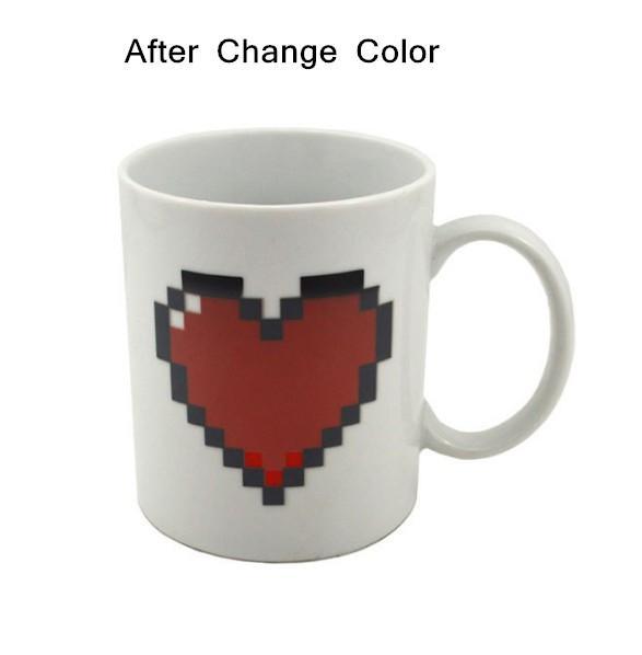 Çevre dostu Kalp Sihirli Sıcaklık Değişen Fincan Renk Değişen Bukalemun Kupalar Isıya Duyarlı Fincan Kahve Çay Süt Kupa Yenilik hediyeler