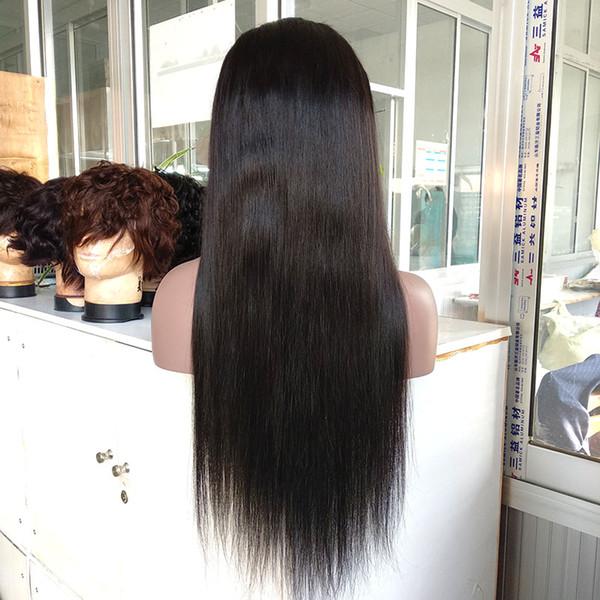 22 Inç Doğal Görünümlü 100% Bakire Brezilyalı Saç Tam Dantel Peruk # 1B Renk Tam Dantel Peruk İnsan Saç Uzun Büküm Örgülü Dantel Peruk