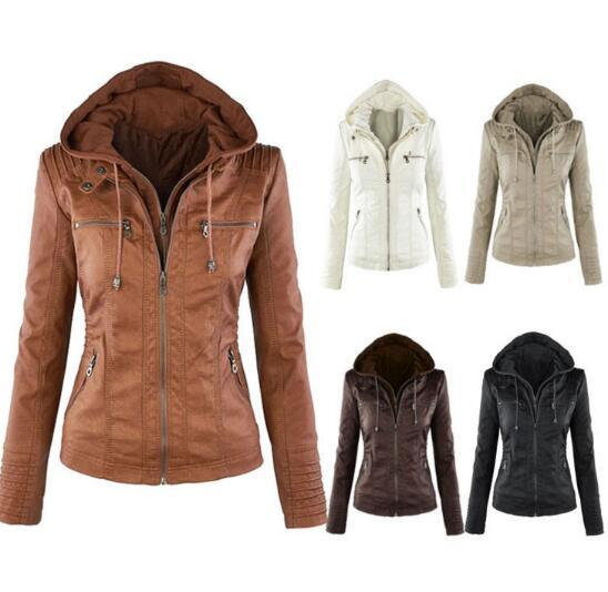 New Slim Fit Jacket Zipper Casual Leather Coat Autumn Women Leather Motorcycle Jacket Outerwear Clothing size:XS-6XL