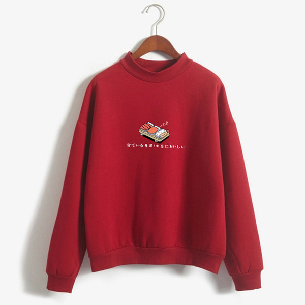 Women Hoodies Autumn Winter Sweatshirts Cartoon Kawaii Sushi Japanese Print Fleece Loose Moletom Feminino Harajuku Pullover