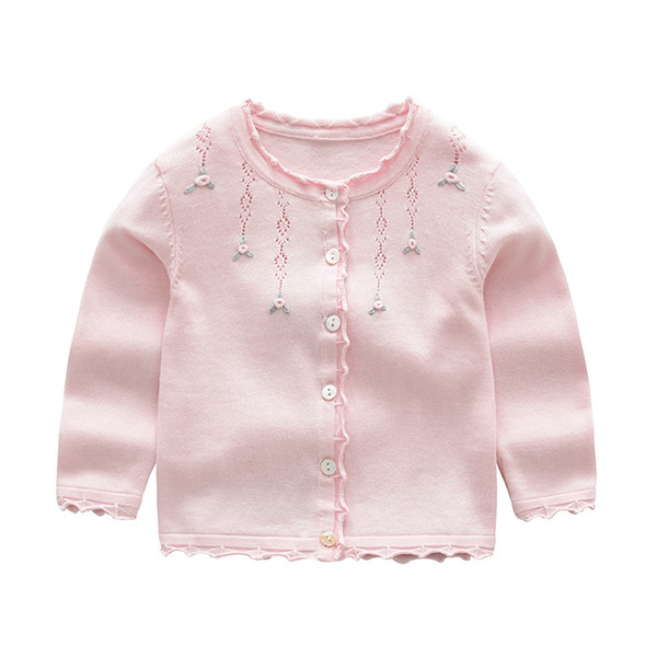 Baby Girls Cardigan Coat Children Sweater Pullover Spring Autumn Long-Sleeve Knit School Girl Pink Red Gray Sweater