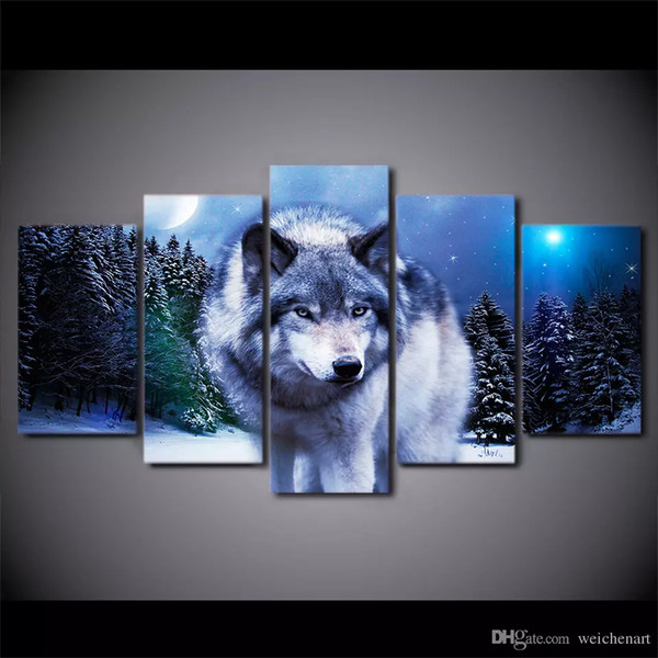 5 Pcs/Set Framed HD Printed Snow Wolf Moon Group Painting Canvas Print room decor print poster picture canvas