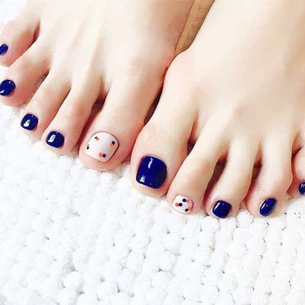 Short Removable Designs False Toe Nails Girls 3d Acrylic Press On Toe Nails Tips Navy Blue Dots Japanese Fake Nail Gel Nail Supply From Blueberry14