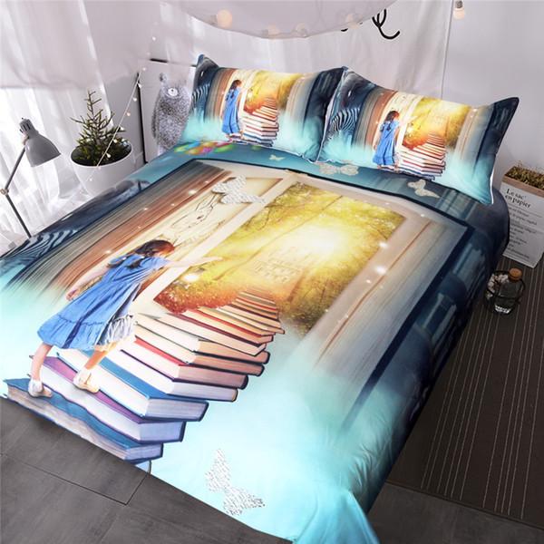 Little Girl Bedding Set Books Ladder Duvet Cover for Kids Rabbit Bedclothes Fairy Tale World Castle Home Textiles