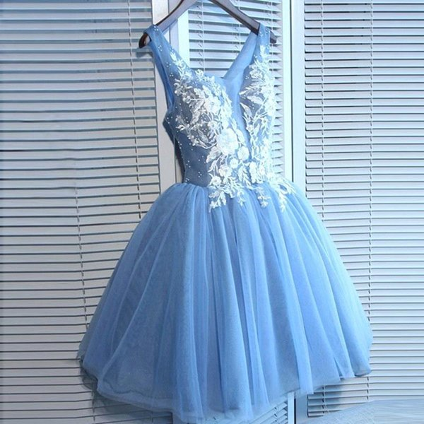 Country Ocean Blue Short Bridesmaid Dresses 2019 V Neck A Line Tulle Cheap Short Cocktail Homecoming Dress Mini Prom Gowns BA9921