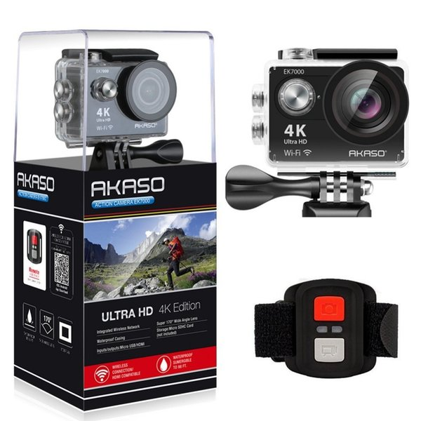 AKASO EK7000 4K WIFI Outdoor Action Camera Video Extreme Sports helm Ultra HD Diving Waterproof 12MP 170 Wide Angle
