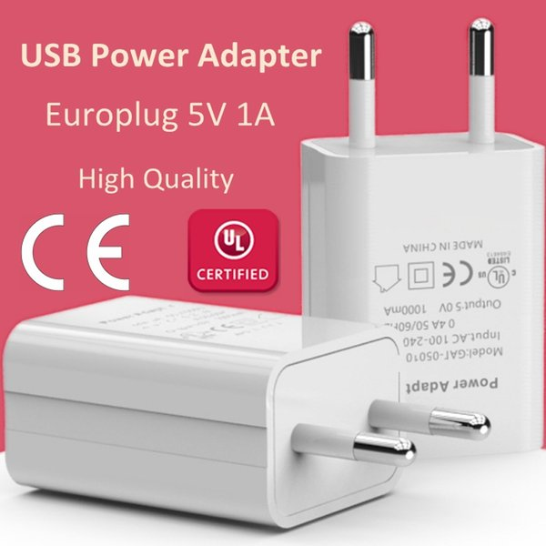 Top Quality Europlug 5V 1A Cell Phone Wall Charger EU Plug USB Power Adapter Portable Travel Charger For iPhone iPad Samsung Huawei Xiaomi