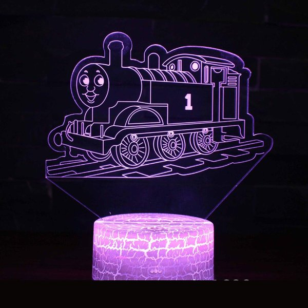 New Cartoon Train 3d Led Night Light Luminaria De Mesa Usb Led Kids Lights Lamps Novelty 7 color change 3D Lamp