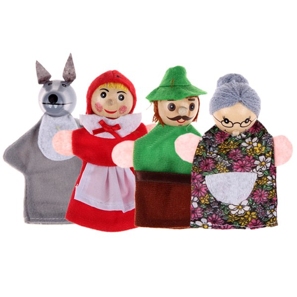 top popular 4pcs Lot Kids Toys Finger Puppets Doll Plush Toys Little Red Riding Hood Wooden Headed Fairy Tale Story Telling Hand Puppets 2021