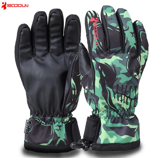 BOODUN Professional Winter Ski Gloves Waterproof Windproof Plate Single Men Women Gloves For Winter Snowmobile Skiing Equipment