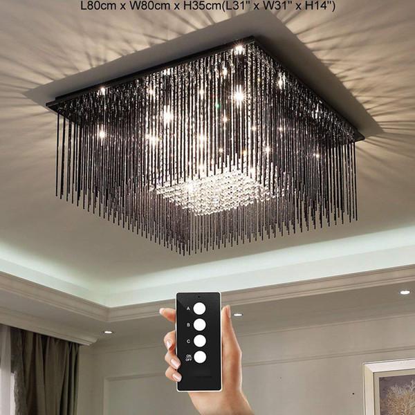 Moderne LED 3 Helligkeit K9 Kristall Schwarz Titan Edelstahl Runde Deckenleuchten Schlafzimmer Licht Restaurant Lichter Kronleuchter Lampen