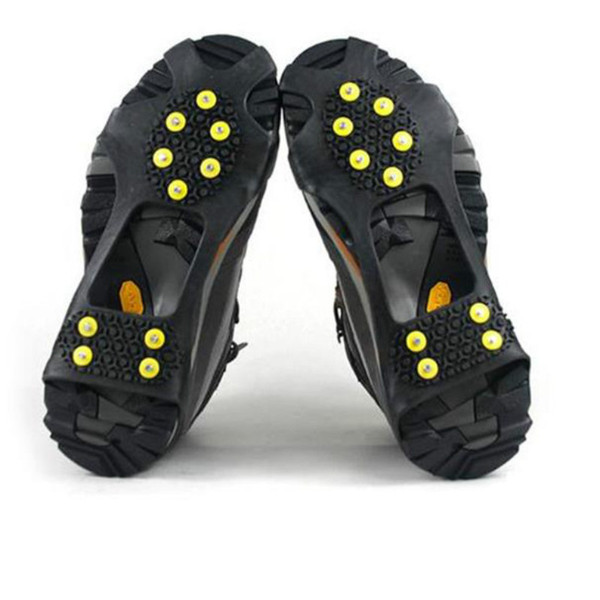 1 Pair 10 Studs Anti-Skid Snow Ice Climbing Shoe Spikes Grips Crampons Cleats Overshoes