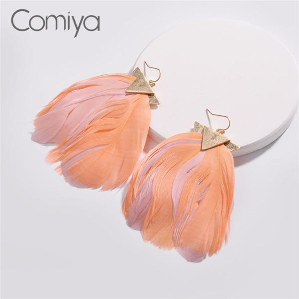 Comiya baumeln Ohrringe für Frauen Zink-Legierung Korean Fashion Elegante Feder Vintage Bijuteria Femme Ohrhänger Bijoux Orecchini
