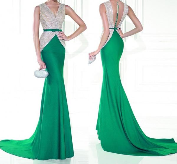 Alta calidad nuevo Fish Tail vestido V Collar rojo verde hecho a mano vestidos de fiesta vestidos de noche sirena vestidos de baile Vestidos De Fiesta