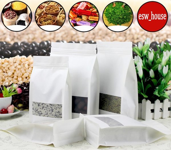 White Paper Packaging bag Frosted window stand up side gusset Zipper Packing Bags Zip Lock Retailer Package 6sizes