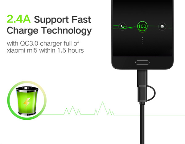 Micro USB Cable 2 in 1 USB Type C Cable Fast Charger Data Sync USB Type C for Samsung LG Nexus Nokia