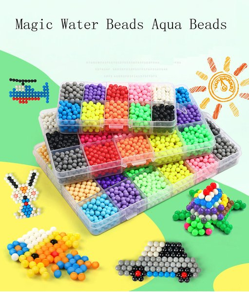 wholesale 5mm Aquabeads Perlen Magic Water Beads Aqua Beads as Children 3D Puzzles Toys Kids party gift