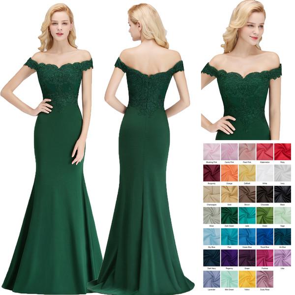 2018 New Dark Green abiti da damigella d'onore sirena off spalla pizzo appliqued lycra abito da sposa spedizione gratuita BM0065