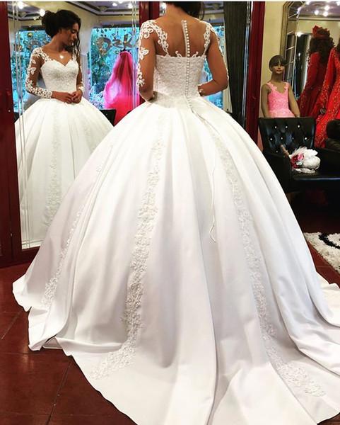 Manches longues robes de mariée robe de mariée en dentelle princesse robes de mariée appliques de dentelle perlée magnifique robes de mariée hochzeitskleid 2019
