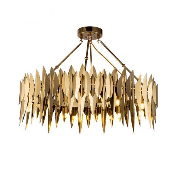 Pós-moderna personalidade de luxo deixa sala de estar sala de jantar criativo lustre de aço inoxidável rodada designer de iluminação do quarto modelo