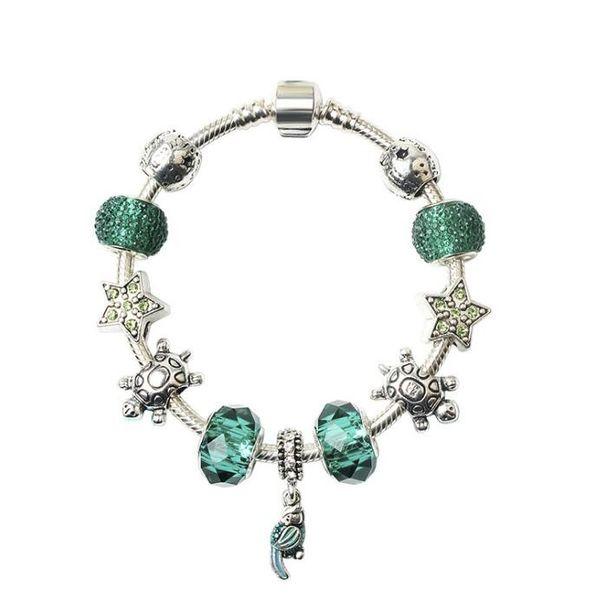 18 19 20CM Charme Bracelet 925 Argent Sea life Bracelets Pour Femmes Royal Crown Bracelet Cristal Perles Diy Bijoux