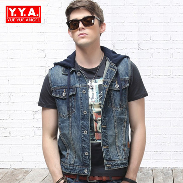 Fashion Vests Mens 2018 Summer Korean Punk Style Hooded Slim Fit Waistcoat Man Casual Turn-Down Collar Sleeveless Denim Vest