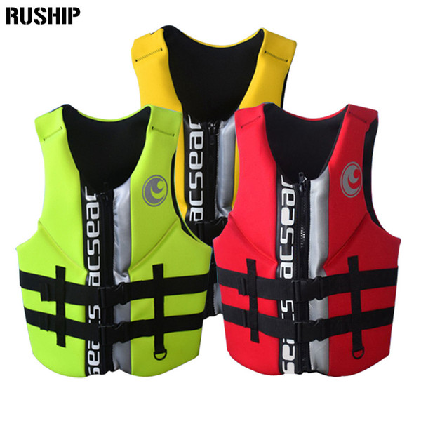 top popular Hisea High Quality Professional Neoprene Adult Life Jackets Thick Water Floating Surfing Snorkeling Fishing Racing Vest Portable 2019