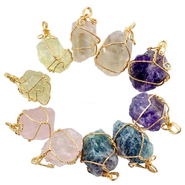 top popular pretty Nature Stone Pendants amethyst Rose Quartz White crystal Lemon crystal fluorite Charms Stone For Necklace 2021