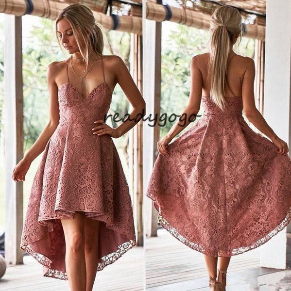 Vintage Blush Crochet Lace Homecoming Dresses For Juniors Spaghetti Straps High Low Prom Gowns Knee Length A Line Cocktail Party Dress