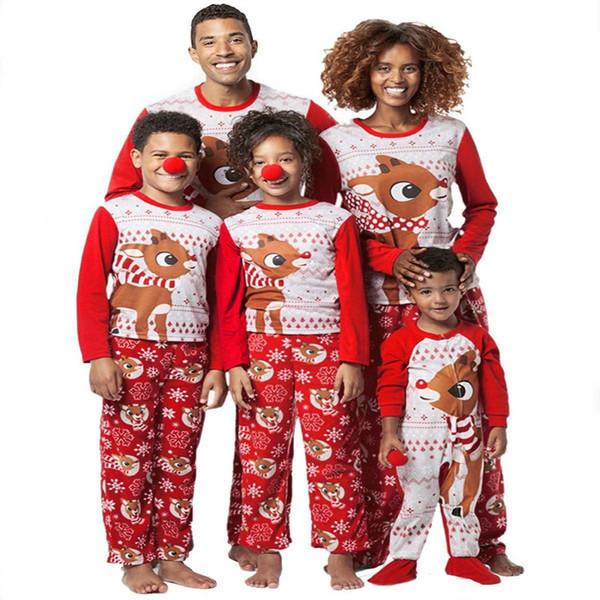 best selling Family Matching Christmas Pajamas Sets Printed Deer Xmas Sleepwear Nightwear Adults Kids Christmas Family Matching Outfits Red