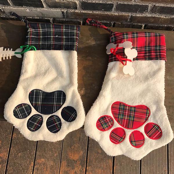 Christmas Pendant Decoration For Dog Paw Socks Stocking Socks Gift Wrap Bags Xmas Home Decor 18*11 inch DHL Ship FHH7-1370