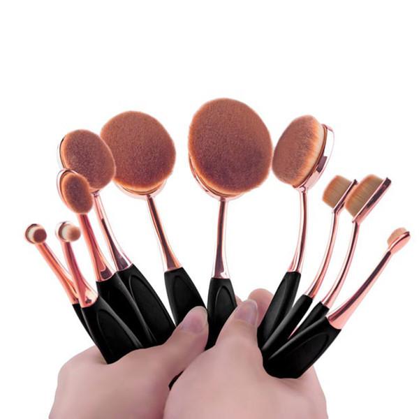 ÇOK AMAÇLI Altın süper yumuşak saç tozu diş fırçası vakfı Makyaj Fırçalar Set 10 ADET allık eyeliner göz farı makyaj fırça seti.